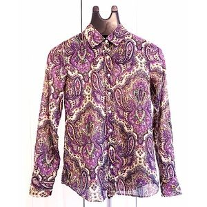 "J.CREW ""PERFIT SHIRT"" Sz 00 Cotton/ Silk L/S Shirt"